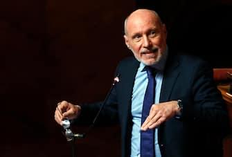 Il senatore Gregorio De Falco durante il dibattito sul caso Gregoretti nellÕAula di Palazzo Madama, Senato della Repubblica, Roma, 12 febbraio 2020. ANSA/RICCARDO ANTIMIANI