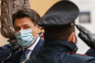 Italian premier Giuseppe Conte arrives at  Senato in Rome, 19 January 2021. ANSA/FABIO FRUSTACI
