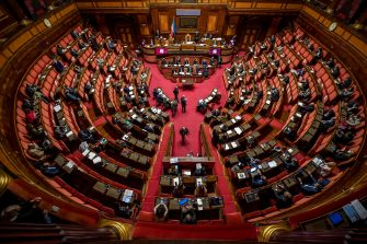 Una panoramica dell'aula del Senato durante la discussione sulla crisi di Governo, Roma, 19 gennaio 2021. ANTONIO MASIELLO / AFPA / POOL / ANSA