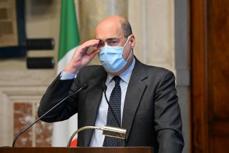 Secretary of Democratic Party Nicola Zingaretti, during a press conference at the Chamber of Deputies after meeting with premier-designate Mario Draghi at the Lower House in Rome, Italy, 09 February 2021. Designated prime minister Draghi is holding second round of consultations with Italian parties for the formation of a new government after the previous coalition collapsed. ANSA/ALESSANDRO DI MEO   POOL