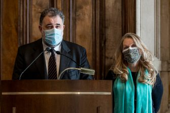 Federico Fornaro (L) and Loredana De Petris from the Free and Equal (Liberi e Uguali, LeU) party during  the press after a meeting with premier-designate Mario Draghi for the formation of a new government, in Rome, Italy, 09 February 2021. Designated prime minister Draghi is holding consultations with Italian parties for the formation of a new government after the previous coalition collapsed. ANSA/ROBERTO MONALDO / LAPRESSE / POOL