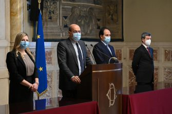The delegation of Democratic Party composed by (L-R) president Valentina Cuppi, secretary Nicola Zingaretti, Andrea Marcucci and Andrea Orlando during a press conference at the Chamber of Deputies after meeting with premier-designate Mario Draghi at the Lower House in Rome, Italy, 09 February 2021. Designated prime minister Draghi is holding second round of consultations with Italian parties for the formation of a new government after the previous coalition collapsed. ANSA/ALESSANDRO DI MEO   POOL