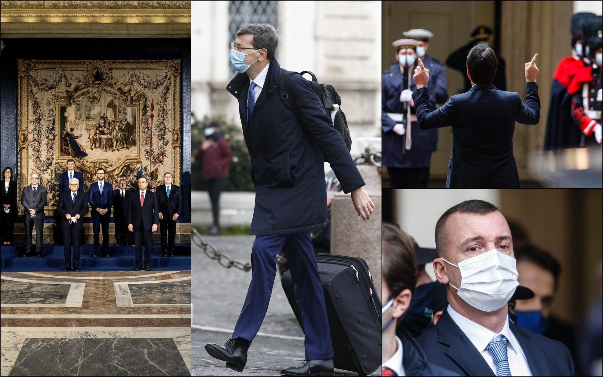 Nuovo governo Draghi, dal trolley agli applausi: le foto più curiose