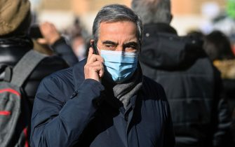 Senator of Forza Italia Maurizio Gasparri on the phone during the demonstration by workers of tourism sector like agencies, operators and guides in piazza del Popolo, Rome, Italy, 12 January 2021. ANSA/RICCARDO ANTIMIANI