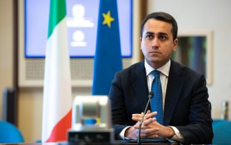 Il ministro degli Esteri, Luigi Di Maio, durante la videoconferenza CAE sul Commercio presso la Farnesina a Roma, 2 marzo 2021. ANSA/CLAUDIO PERI