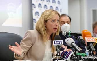 Giorgia Meloni durante conferenza stampa di Fratelli d'Italia su Dl Sostegni, Roma, 14 Aprile 2021. ANSA/GIUSEPPE LAMI