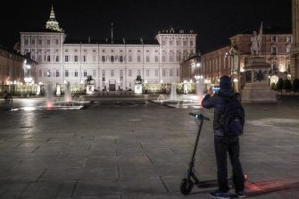 A view of downtown Turin, Italy, during the curfew, 23 April 2021. Night-time curfew aimed at preventing COVID-19 contagion continue to kick in at 10pm in Italy for the time being, although many regional governments and Matteo Salvini's League party have been pressing for the curfew to start at 11pm as the nation's COVID-19 restrictions are gradually relaxed. ANSA/ JESSICA PASQUALON