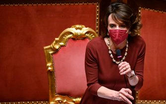 Minister for Equal Opportunities and Family Elena Bonetti during a session at the Senate for the approval of a law on child benefit to introduce a single universal cheque for low-income families, Rome, Italy, 30 March 2021. ANSA/RICCARDO ANTIMIANI