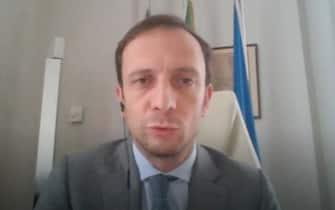 Il presidente del Friuli Venezia Giulia e della Conferenza delle Regioni, Massimiliano Fedriga, durante un intervento a Sky TG24
