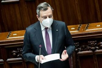 Il presidente del Consiglio Mario Draghi alla Camera
