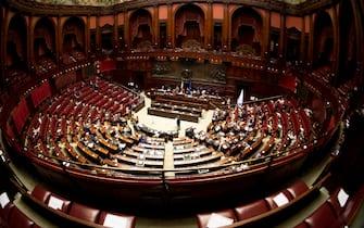 Panoramica dellÕAula nel corso delle dichiarazioni di di voto  al dl semplificazioni a Montecitorio, Roma 10 settembre 2020.     ANSA/MAURIZIO BRAMBATTI