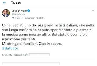 Il ministro degli Esteri Luigi Di Maio su Twitter ricorda Franco Battiato