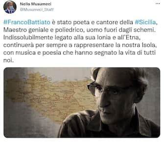 Nello Musumeci, presidente della Regione Sicilia, ricorda Franco Battiato
