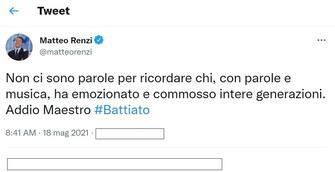 Matteo Renzi, leader di Italia Viva, ricorda su Twitter Franco Battiato