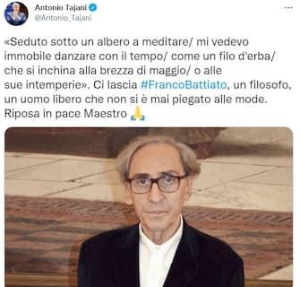 Antonio Tajani, vicepresidente di Forza Italia, ricorda Franco Battiato su Twitter