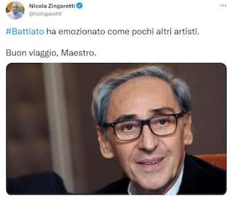 Il presidente della Regione Lazio Nicola Zingaretti su Twitter ricorda Franco Battiato