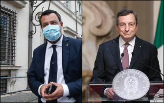 Il leader della Lega Matteo Salvini e il premier Maro Draghi