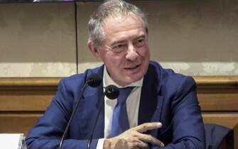 Adolfo Urso, vicepresidente del Copasir, al Senato durante il quinto convegno organizzato da AWOS dal titolo ''Geopolitica e commercio estero'', Roma 15 ottobre 2020. ANSA