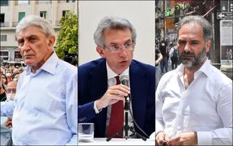 Da sinistra i candidati a sindaco di Napoli: Antonio Bassolino, Gaetano Manfredi e Catello Maresca