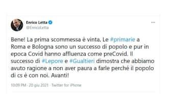 Il tweet di Enrico Letta sulle primarie del centrosinistra a Roma e Bologna