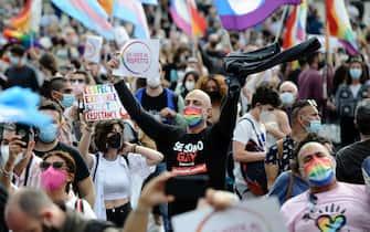 """Manifestazione """"Non un passo indietro"""" per chiedere la definitiva approvazione del DDL Zan in Piazza del Popolo Roma, 15\05\2021  Demonstration """"Not a step back"""" to ask for the definitive approval of the DDL Zan Rome 15\05\2021"""