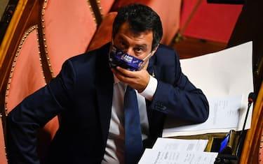 Il leader della Lega Matteo Salvini durante la discussione in Senato sul ddl Zan, Roma, 13 luglio 2021. ANSA/RICCARDO ANTIMIANI