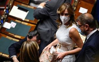 Maria Elena Boschi, deputata di Italia Viva, durante il voto alla Camera dei Deputati sulla nomina di due membri del CdA della Rai, Roma, 14 luglio 2021. ANSA/RICCARDO ANTIMIANI