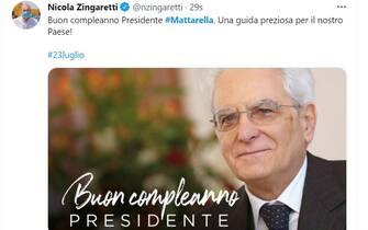 Mattarella 80 anni auguri Nicola Zingaretti
