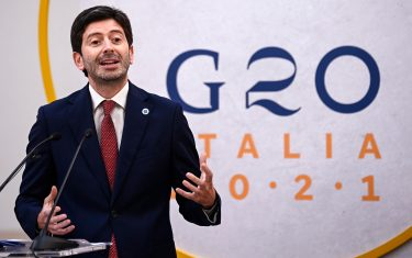 Roberto Speranza, Italian Minister of Health, during the final press conference at the G20 Health Ministers  Meeting in Rome s Capitol, Italy, 6 September 2021. ANSA/RICCARDO ANTIMIANI