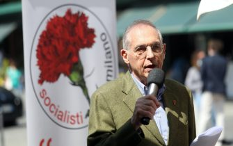 Giorgio Goggi  durante la presentazione della sua candidatura a sindaco di Milano con il partito Socialista. Milano, 7 Maggio 2021. ANSA / MATTEO BAZZI