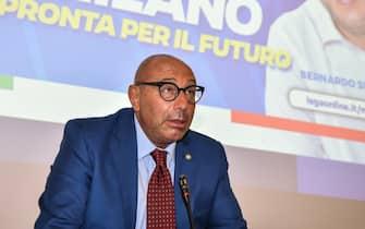 Luca Bernardo alla presentazione della lista della Lega per le elezioni comunali di Milano, 7 Settembre 2021 - ANSA/MATTEO CORNER