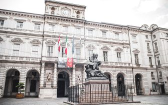 Turin, Italy, April 2020: The facade of Palazzo di Città, head office of the Municipality of Torino during the Covid-19 pandemic lockdown period (Photo by Alessandro Bosio/Pacific Press/Sipa USA)