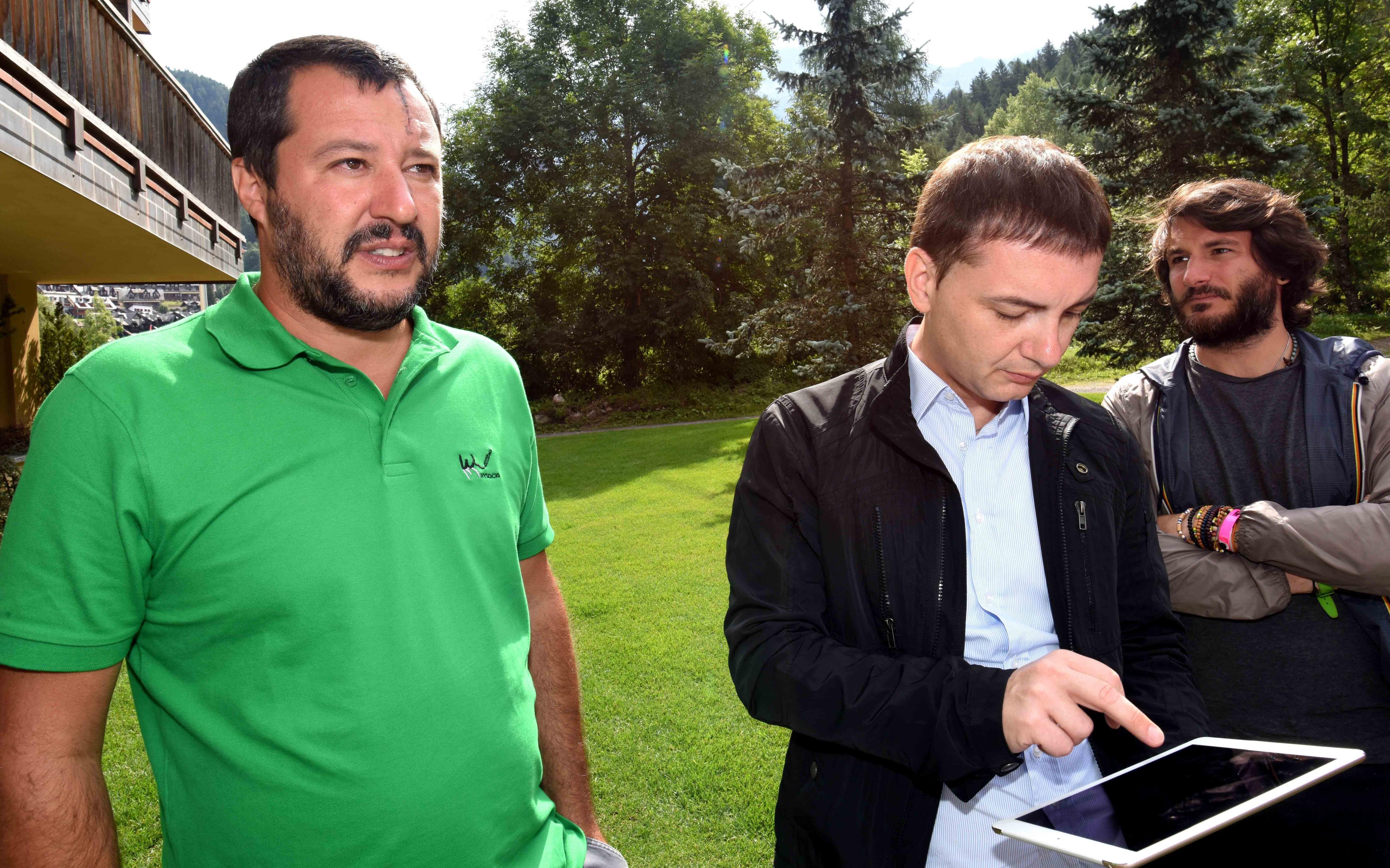 Matteo Salvini con Luca Morisi nel 2017