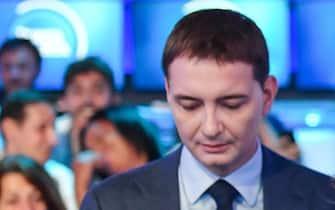 Luca Morisi durante una puntata di Porta a Porta in cui è stato ospite Matteo Salvini