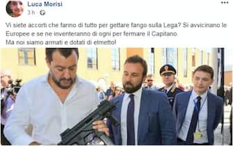 Il post di Luca Morisi su Facebook che ritrae Matteo Salvini con un mitra