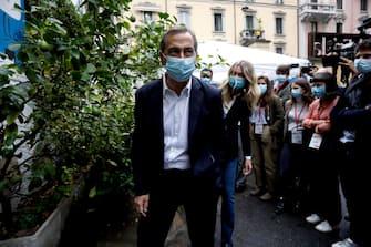 L'arrivo del Sindaco Beppe Sala al comitato elettorale per la sua nuova candidatura al Frida in via Pollaiuolo a Milano, 4 ottobre 2021.ANSA/MOURAD BALTI TOUATI