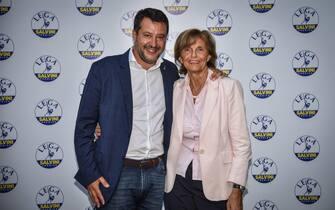 Matteo Salvini e Annarosa Racca alla presentazione della lista della Lega per le elezioni comunali di Milano, 7 Settembre 2021 - ANSA/MATTEO CORNER
