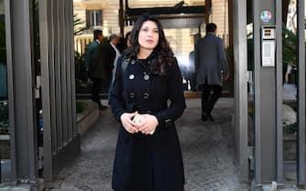 Nadia Bengala alla camera ardente di Fabrizio Frizzi nella sede Rai di viale Mazzini, Roma, 27 marzo 2018. ANSA/ETTORE FERRARI