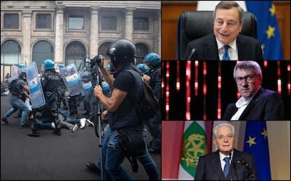 Scontri no Green Pass a Roma, Draghi: no violenze, avanti con vaccini