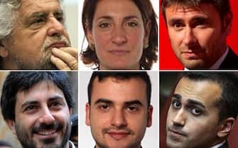 In un'immagine combinata Beppe Grillo, Roberto Fico, Alessandro Di Battista, Luigi Di Maio, Carla Ruocco e Carlo Sibilia.  ANSA