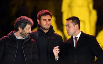 Italian 5-Star Movement's candidate for the post of the Prime Minister, Luigi Di Maio (R), with Roberto Fico (L) and Alessandro Di Battista during the closing of the electoral campaign of the M5S in Rome, Italy, 02 March 2018. ANSA/ALESSANDRO DI MEO