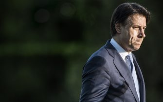 ROME, ITALY - JUNE 21: Italy's Prime Minister Giuseppe Conte holds a press conference at Casina del Bel Respiro, Villa Pamphilj, following the closing sessions of the states general of economy on June 21, 2020 in Rome, Italy. The Prime Minster, in an effort to bolster the economy since the impact of the coronavirus pandemic and lockdown, will likely expand the budget deficit.  (Photo by Alessandra Benedetti - Corbis/Getty Images)