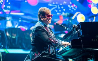 MELBOURNE, AUSTRALIA - DECEMBER 10:  Sir Elton John performs on stage during his Farewell Yellow Brick Road Tour at Rod Laver Arena on December 10, 2019 in Melbourne, Australia. (Photo by Mackenzie Sweetnam/WireImage)