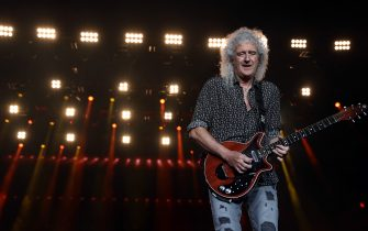 SYDNEY, AUSTRALIA - FEBRUARY 16: Brian May of Queen performs during Fire Fight Australia at ANZ Stadium on February 16, 2020 in Sydney, Australia. (Photo by Cole Bennetts/Getty Images)
