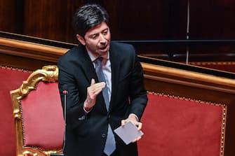 Il Ministro della Salute Roberto Speranza durante l  informativa sulle misure per affrontare l'emergenza sanitaria legata al Coronavirus. Senato della Repubblica, Roma 6 Agosto 2020. ANSA/VALERIO PORTELLI