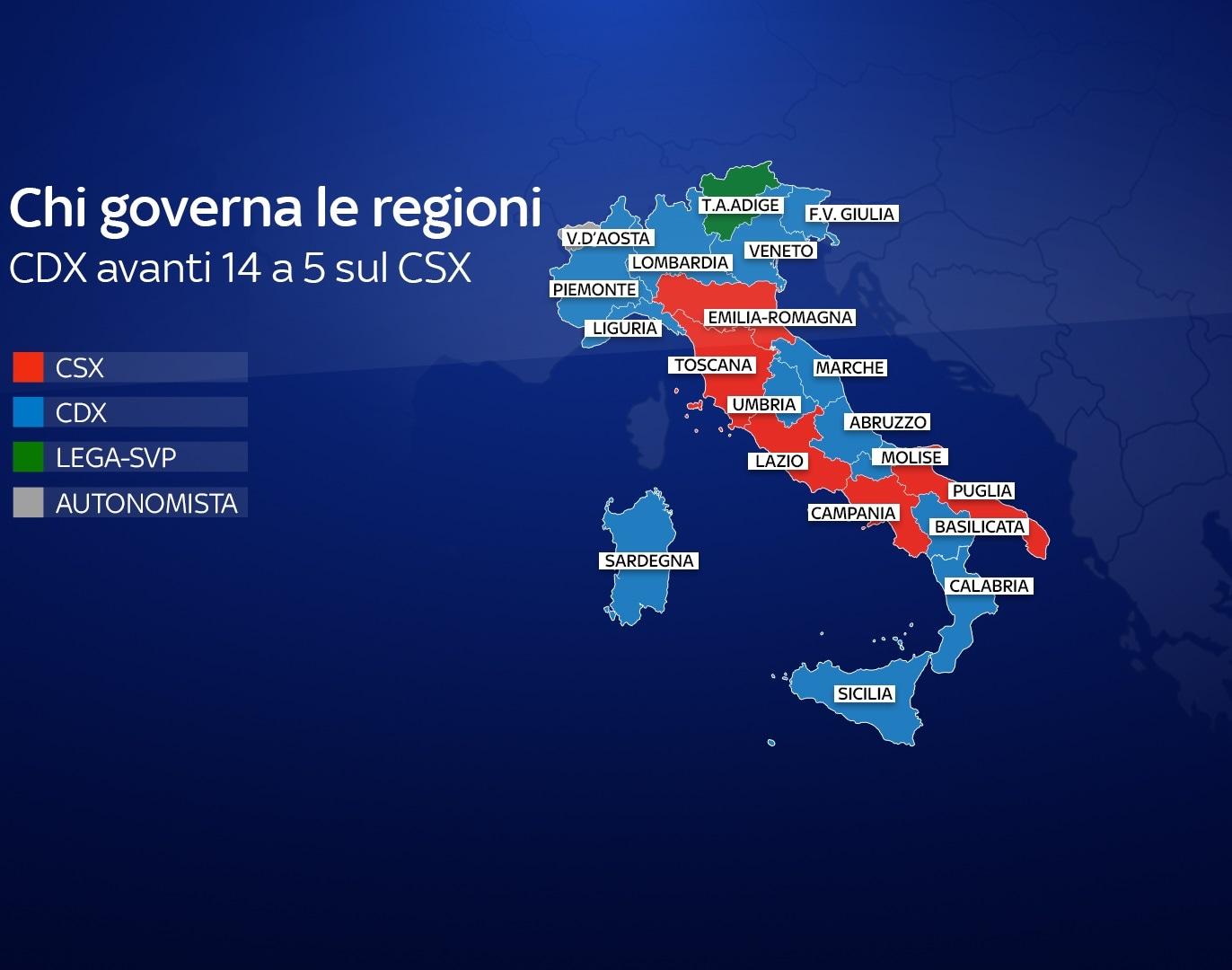 Cartina Regione Lazio Divisa Per Province.Partiti E Presidenti Delle Regioni Italiane Ecco Chi Governa E Dove Mappa