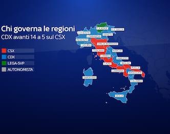 Chi governa nelle Regioni, la mappa: centrodestra avanti 14 a 5