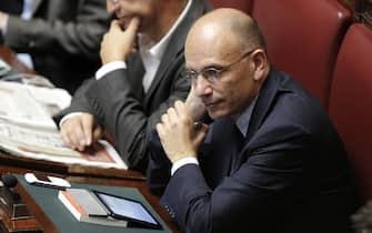 Enrico Letta alla Camera durante l'esame di misure urgenti in favore dell'Emilia Romagna, Roma 12 Giugno 2014. ANSA/GIUSEPPE LAMI