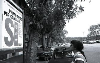 Manifesti elettorali in vista del referendum del 9 giugno 1991, Roma 7 giugno 1991. ANSA/BRAMBATTI/ARCHIVIO