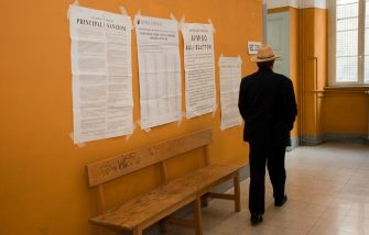 ROME, ITALY - JUNE 13:   A man enters a polling station to vote for the Italian referendum on nuclear power, on June 13, 2011 in Rome, Italy. The country has been committed to a referendum on June 12-13, 2011 on the re-introduction of nuclear power, on the privatization of water and on 'legittimo impedimento', a law that would grant immunity to Prime Minister Silvio Berlusconi from many ongoing trials accusing him of various crimes.  (Photo by Giorgio Cosulich/Getty Images)